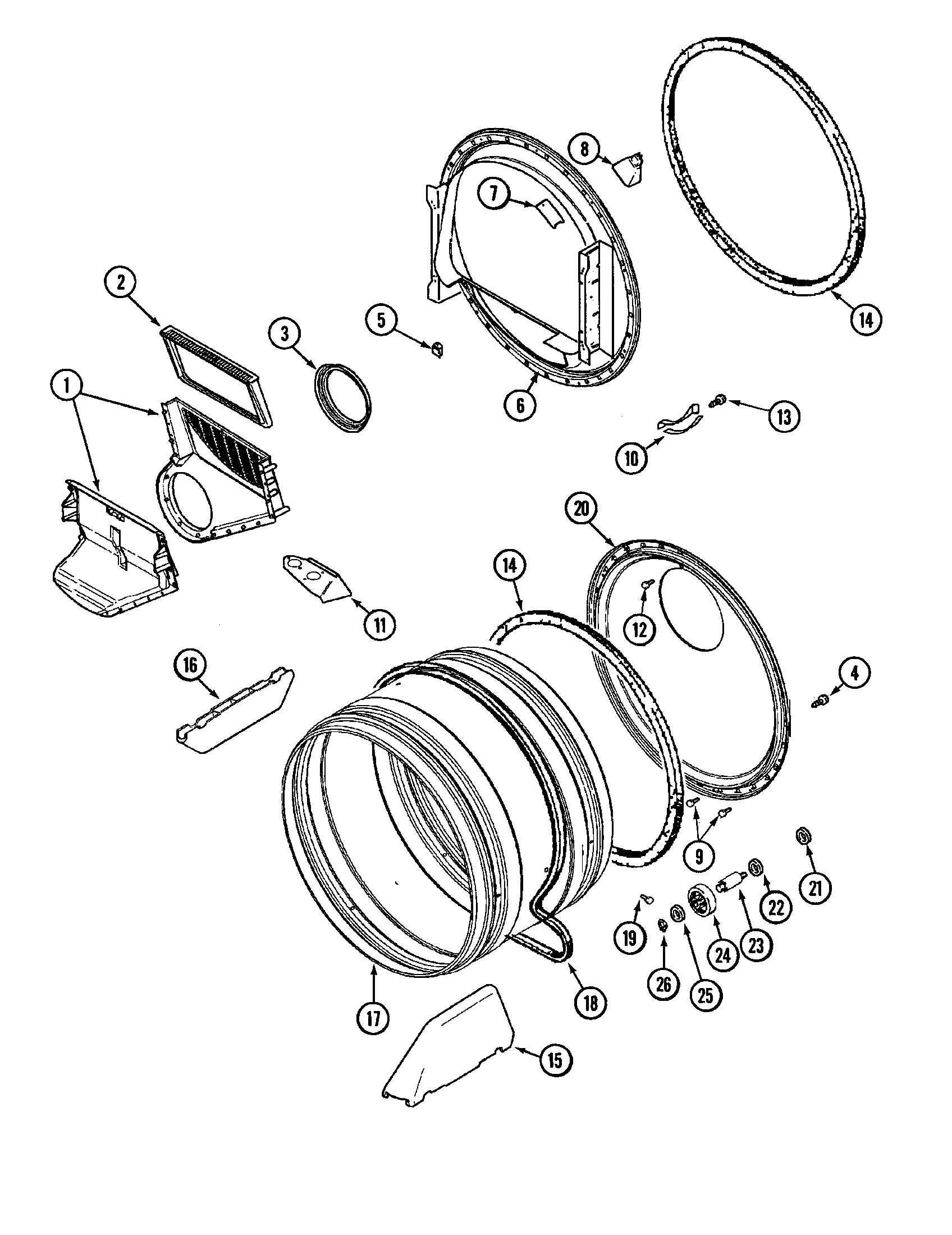 TUMBLER Diagram & Parts List for Model mdg7400aww Maytag