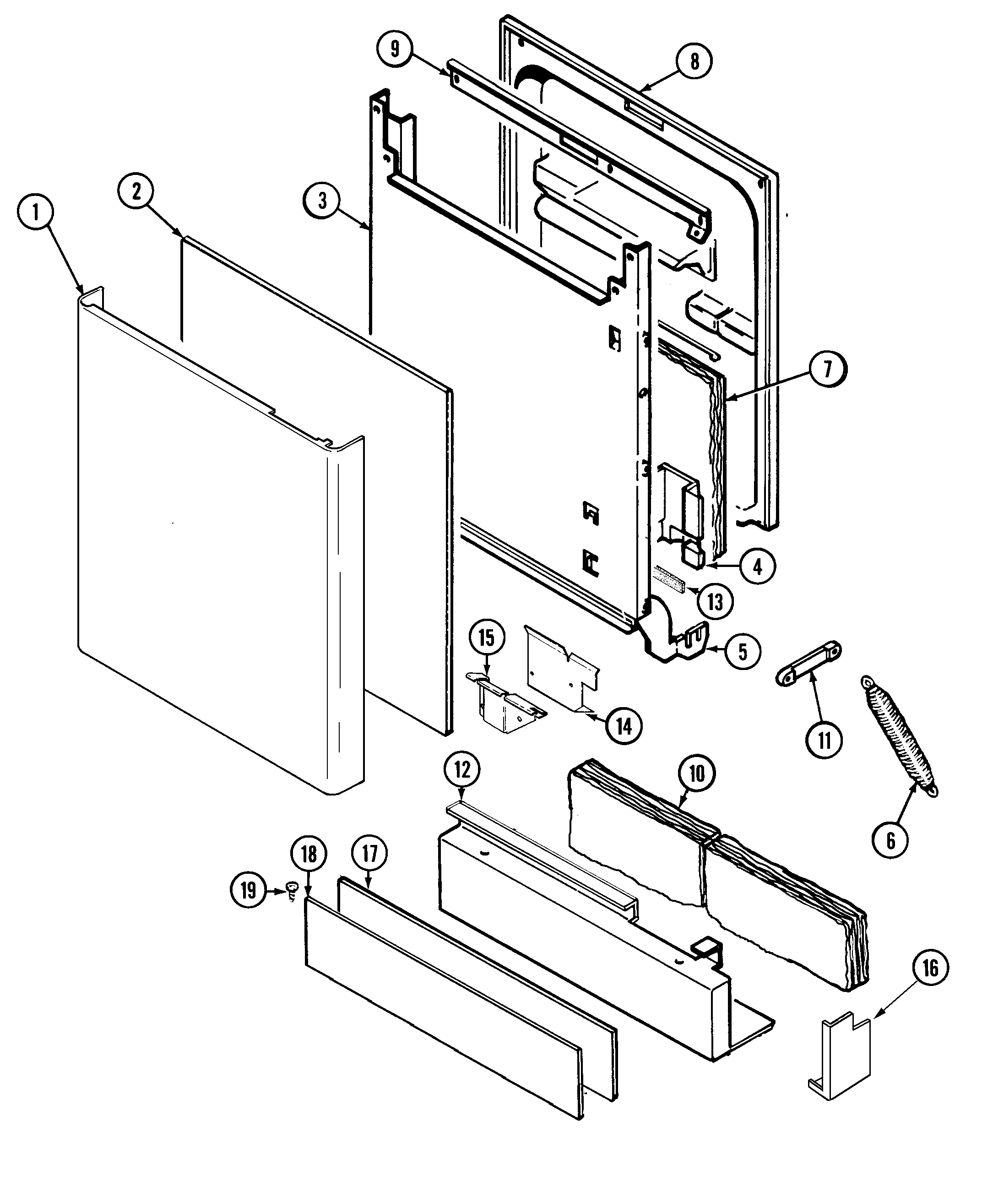 DOOR (BLUE CREEK) Diagram & Parts List for Model DW861UQK