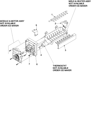 ICE MAKER 61005508 Diagram & Parts List for Model