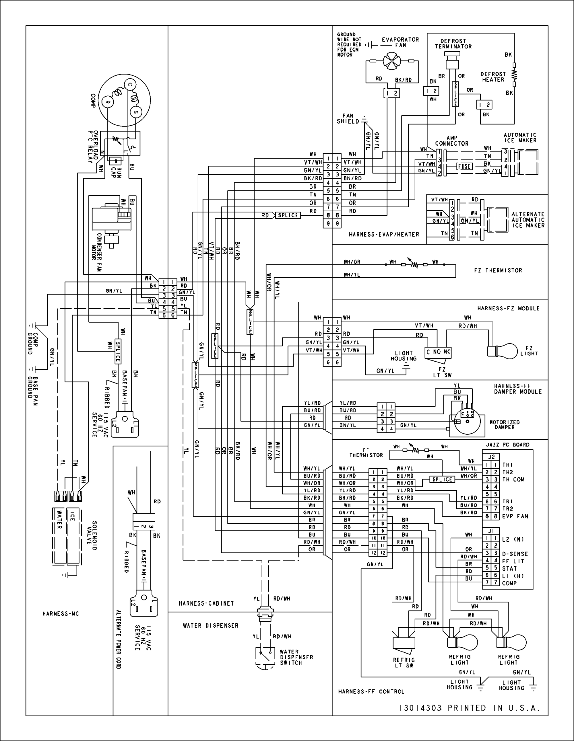 hight resolution of amana model abd2233des bottom mount refrigerator genuine parts amana refrigerator wiring diagram amana refrigerator schematics