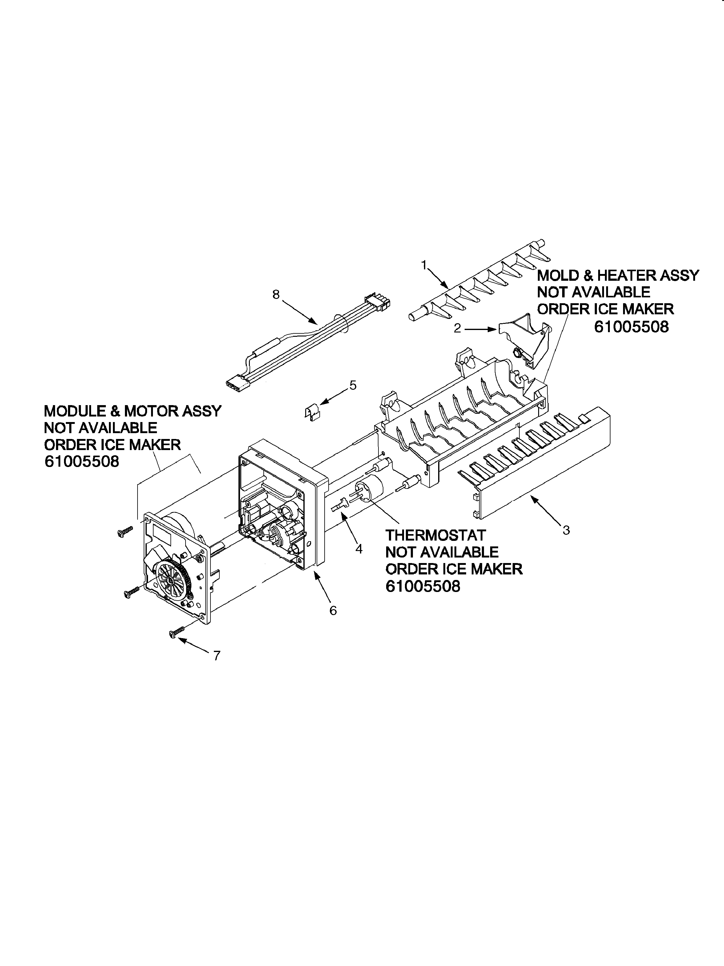 ICE MAKER Diagram & Parts List for Model ASD2627KEB Amana