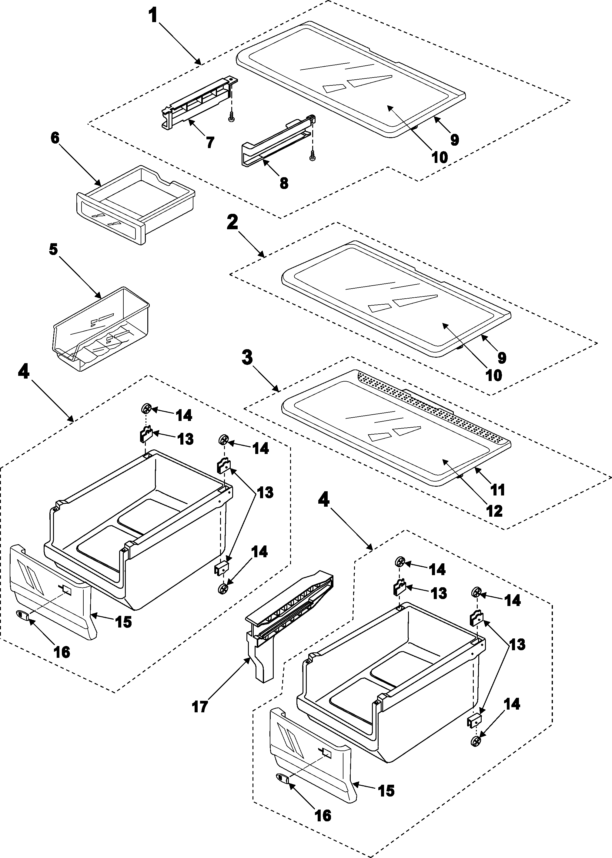 REFRIGERATOR SHELVES Diagram & Parts List for Model