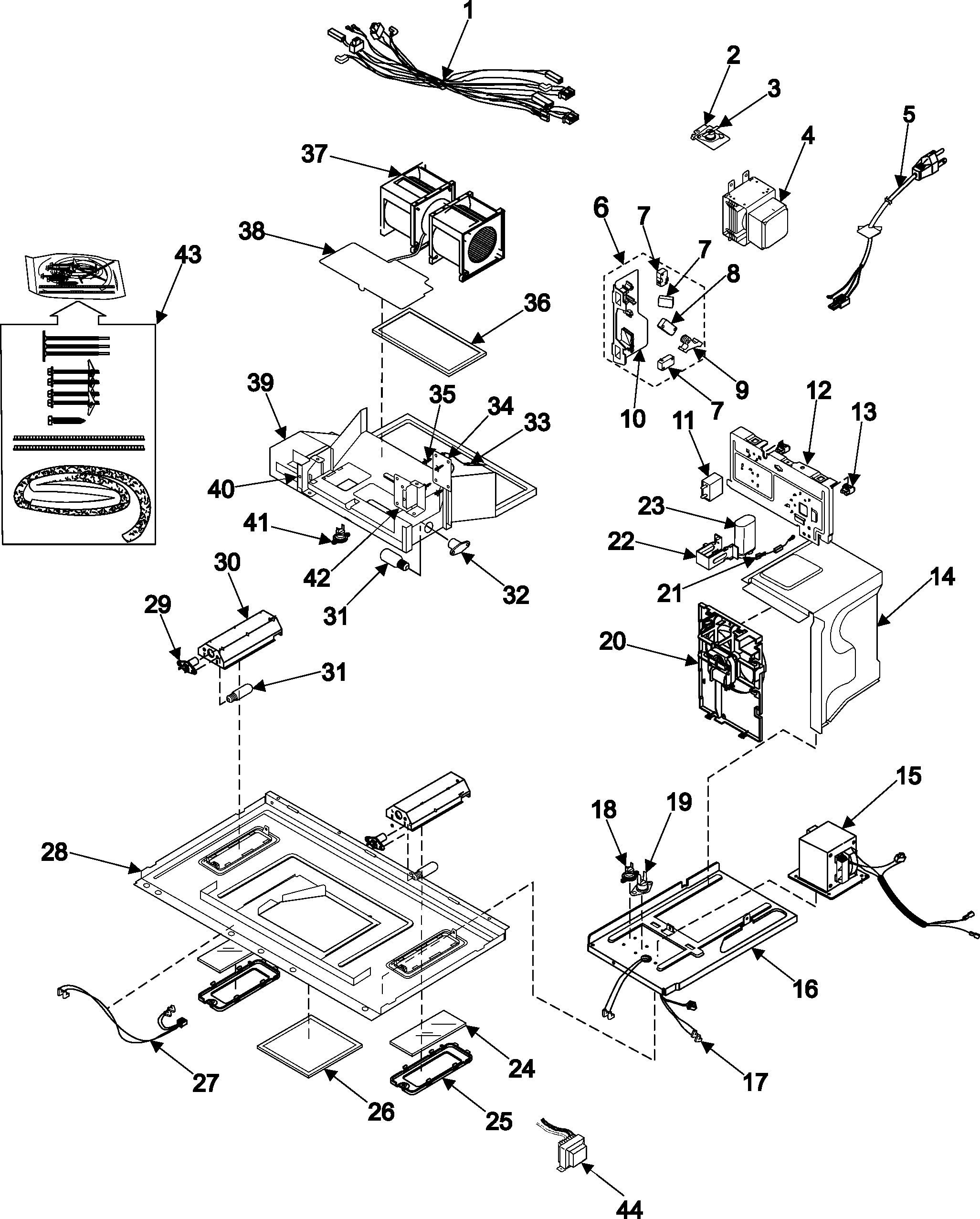 INTERNAL CONTROL/LATCH ASY/BASE Diagram & Parts List for
