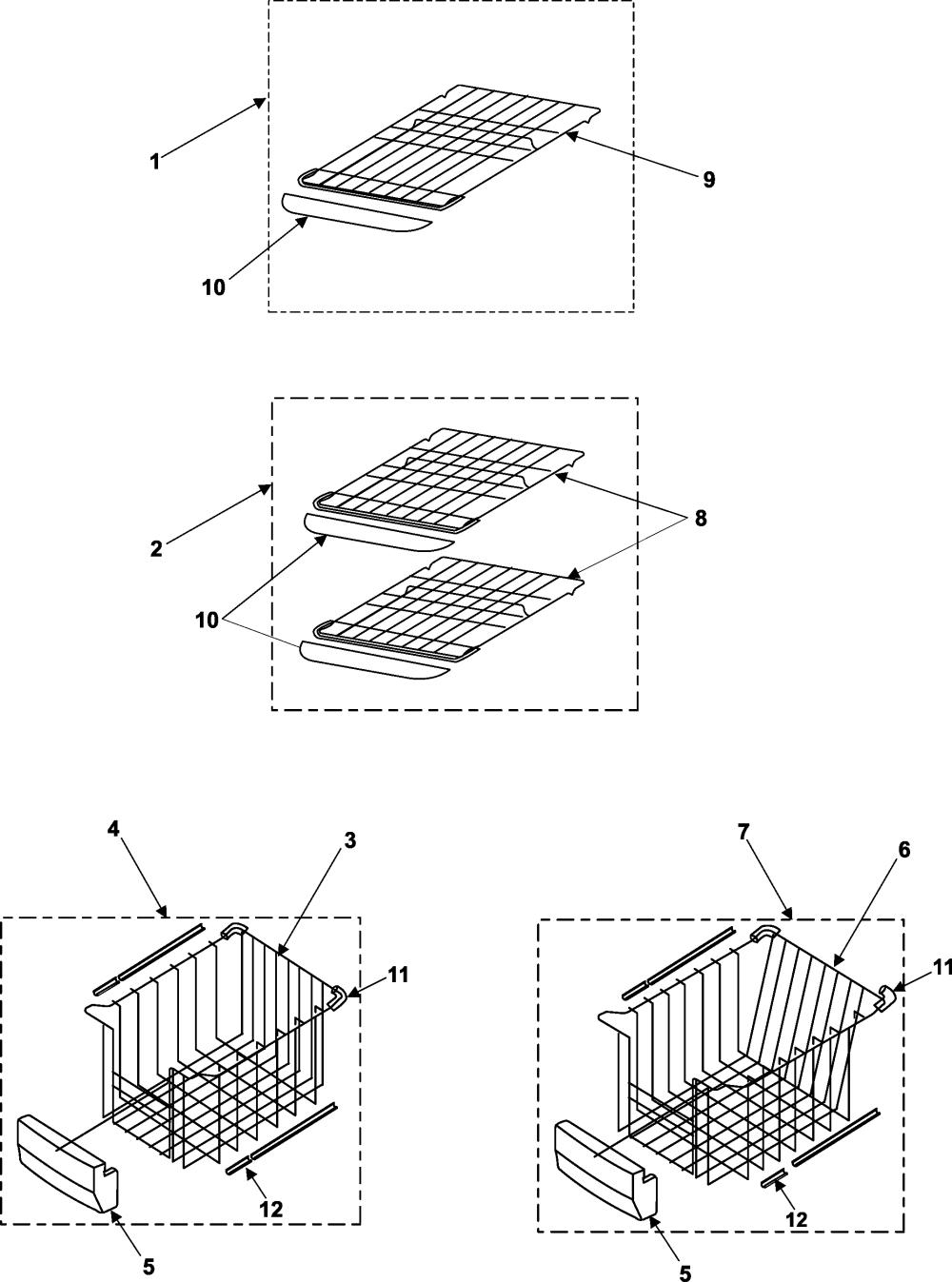 medium resolution of samsung rs253baww xaa freezer shelves diagram