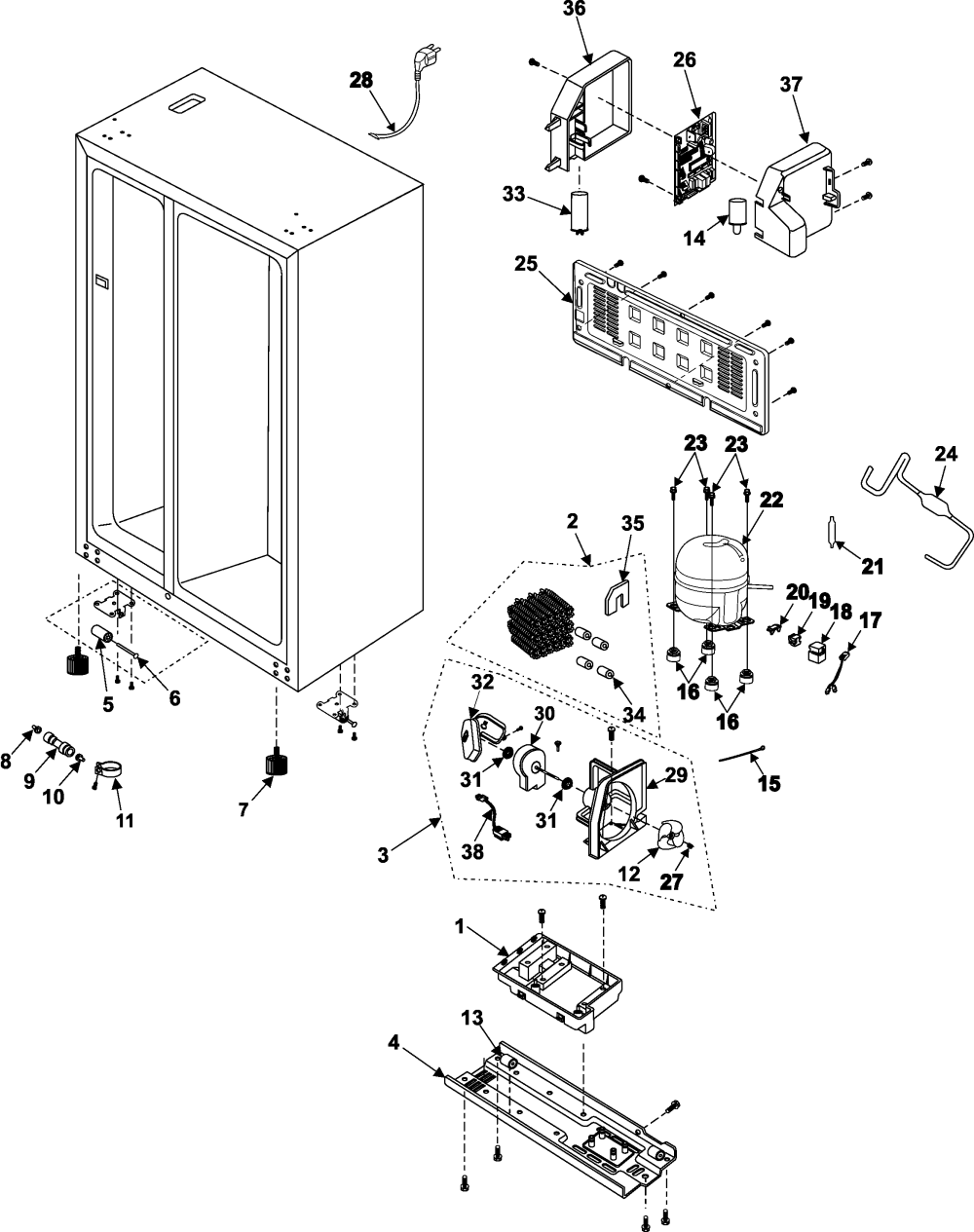 medium resolution of samsung rs253baww xaa machine compartment compressor diagram