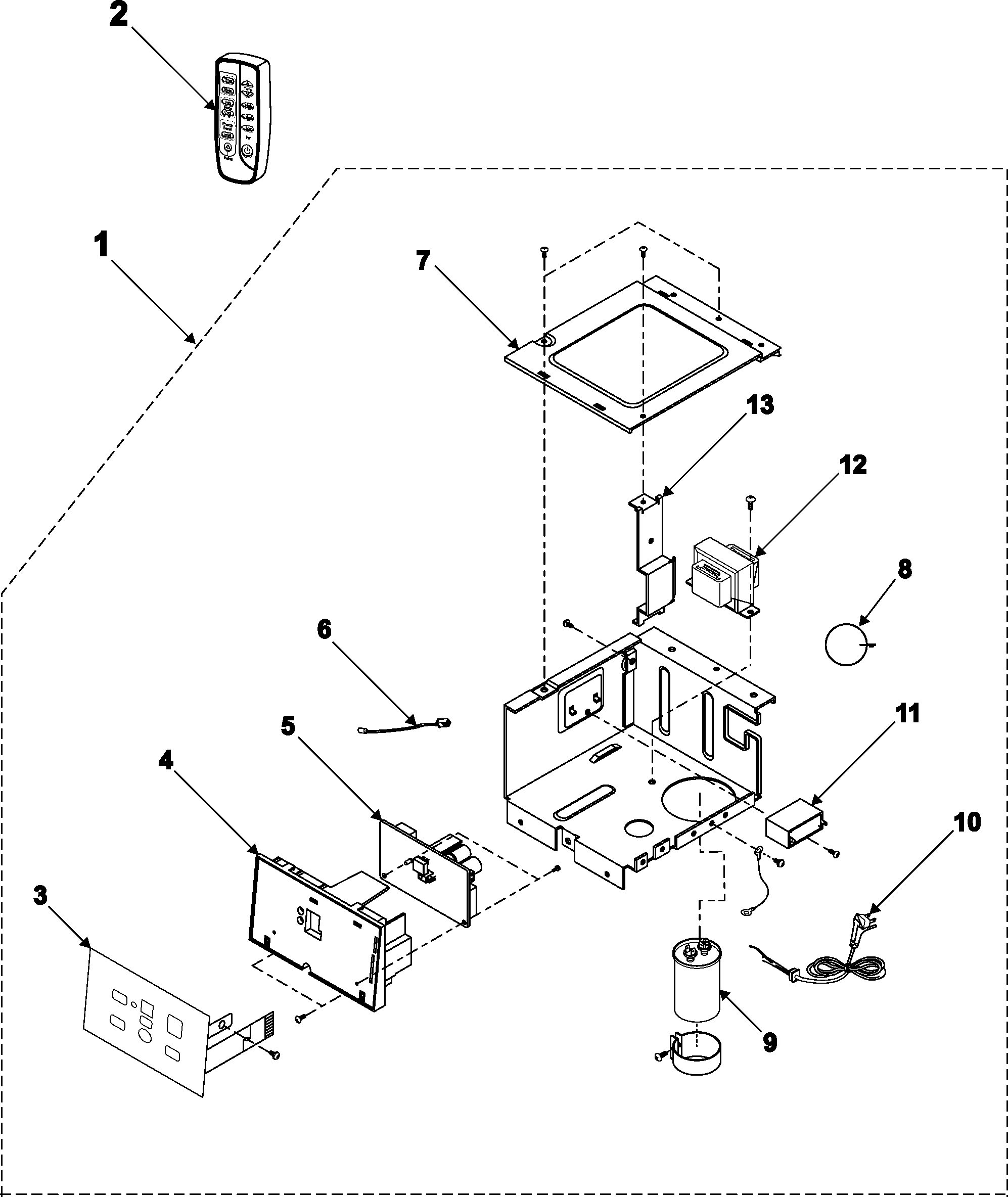 CONTROL ASSEMBLY Diagram & Parts List for Model aw089cb
