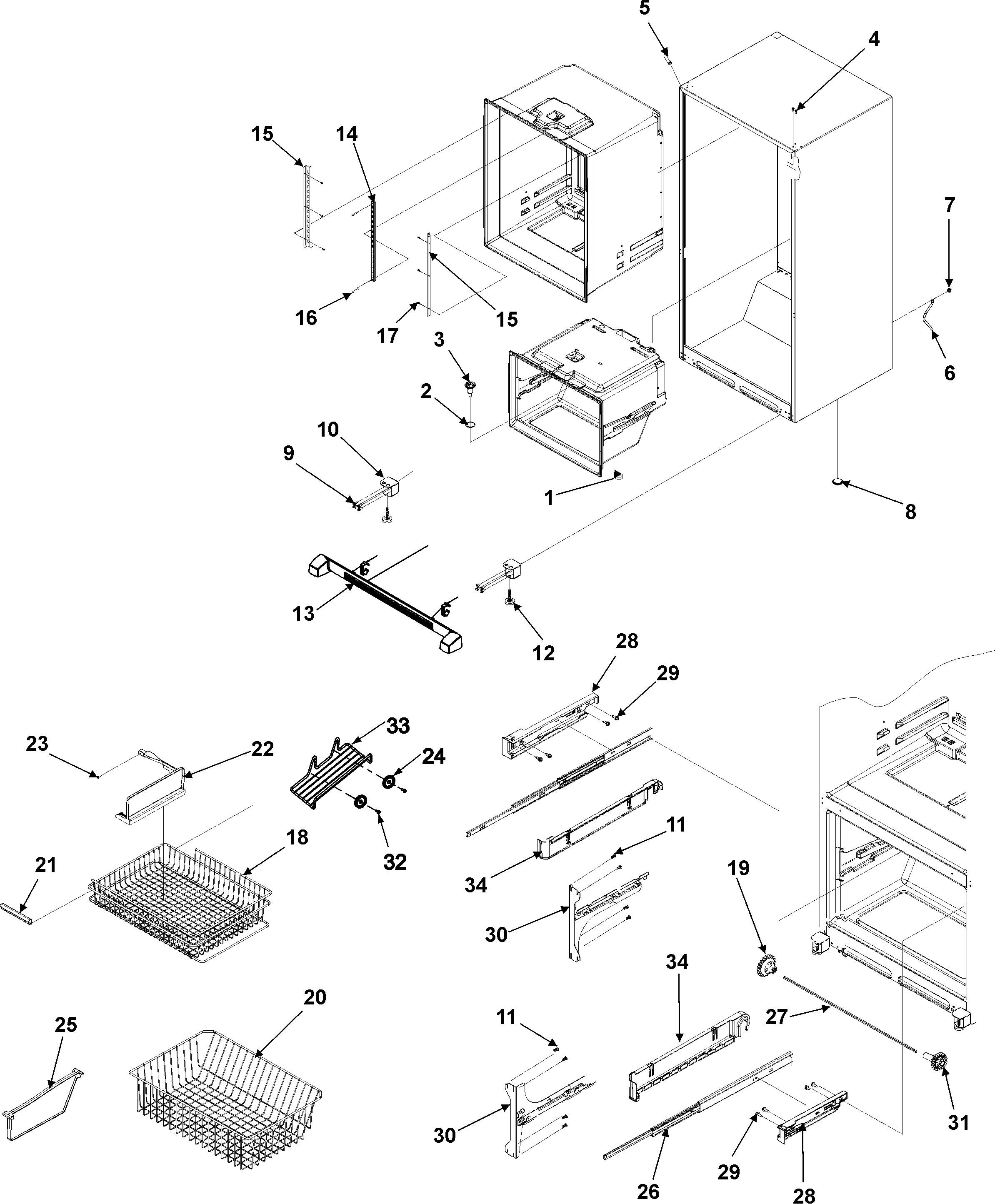 INTERIOR CABINET & FREEZER SHELVING Diagram & Parts List