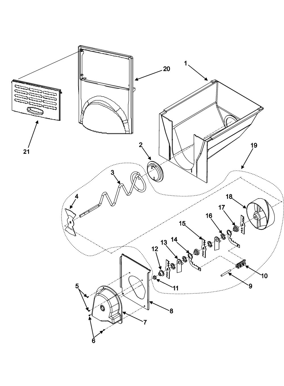 medium resolution of amana acd2234hrw ice bucket assy diagram