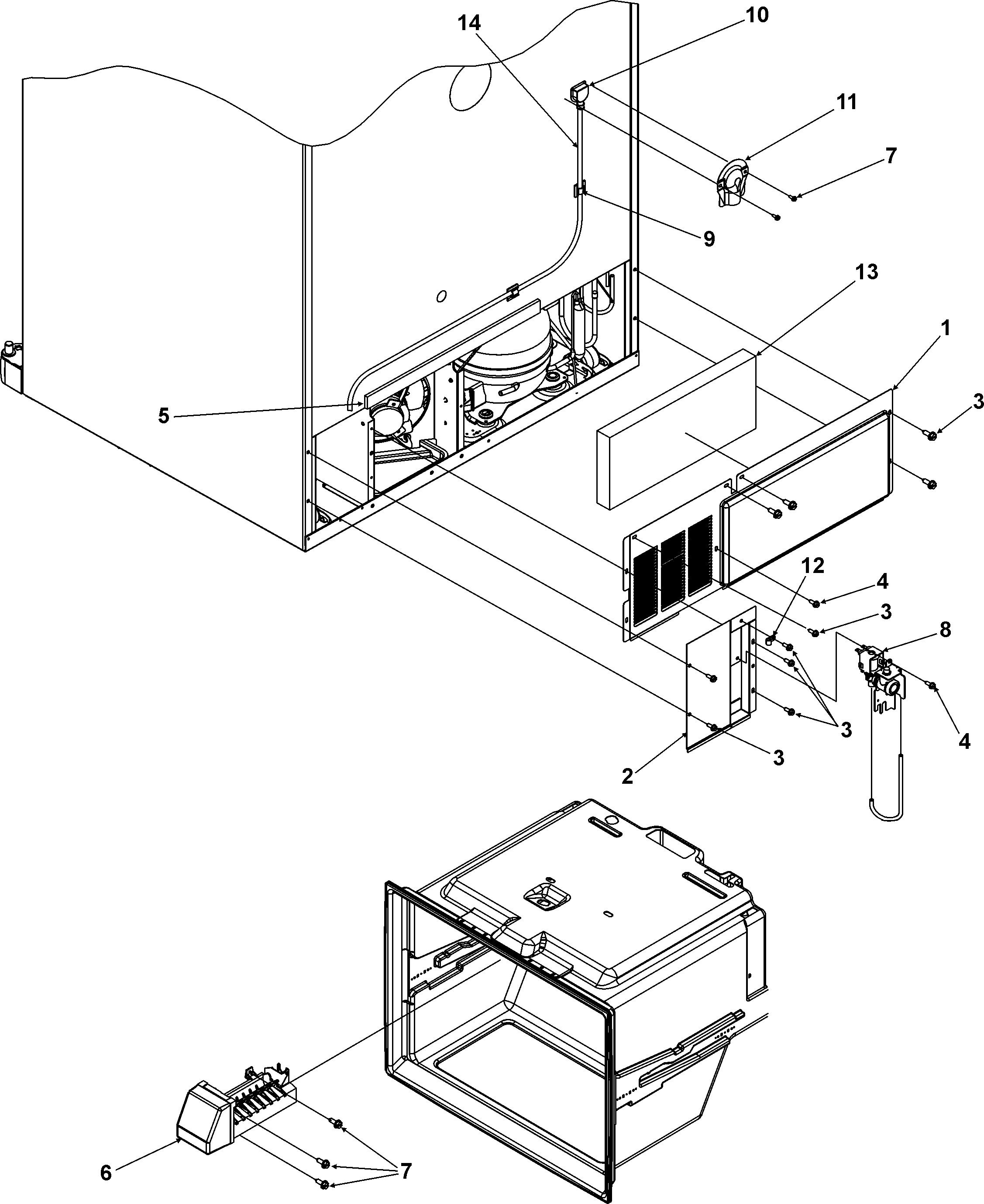 CABINET BACK Diagram & Parts List for Model mbf2254heb