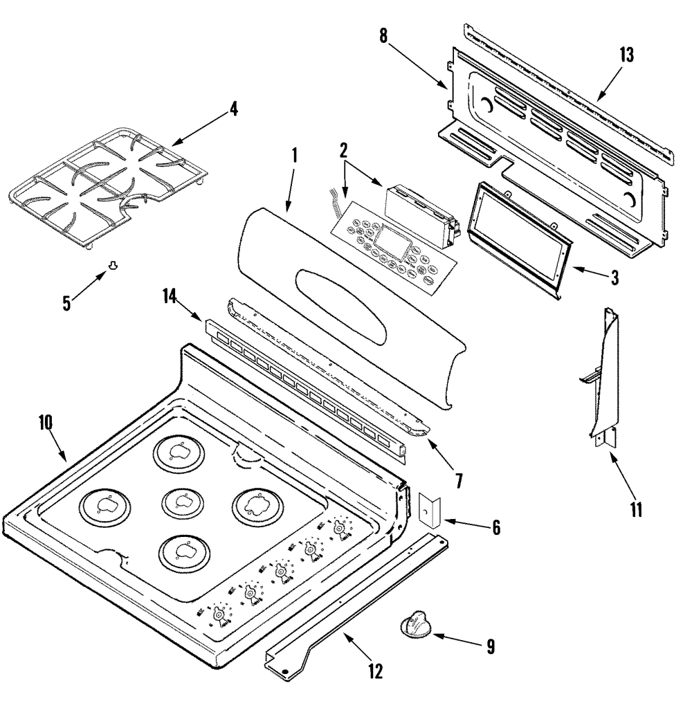 medium resolution of maytag mgr6875adb control panel top assembly diagram