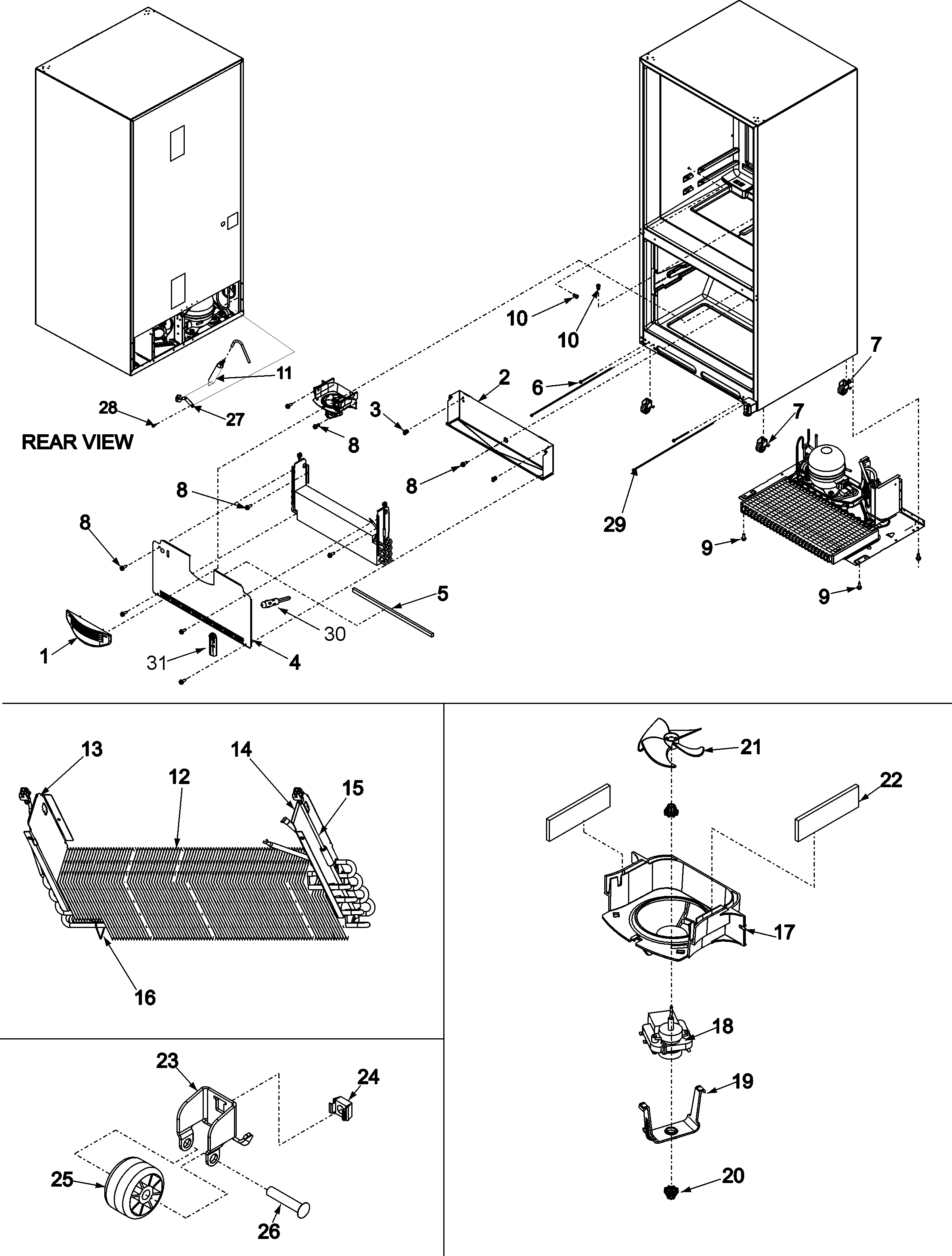 EVAPORATOR AREA & ROLLERS Diagram & Parts List for Model