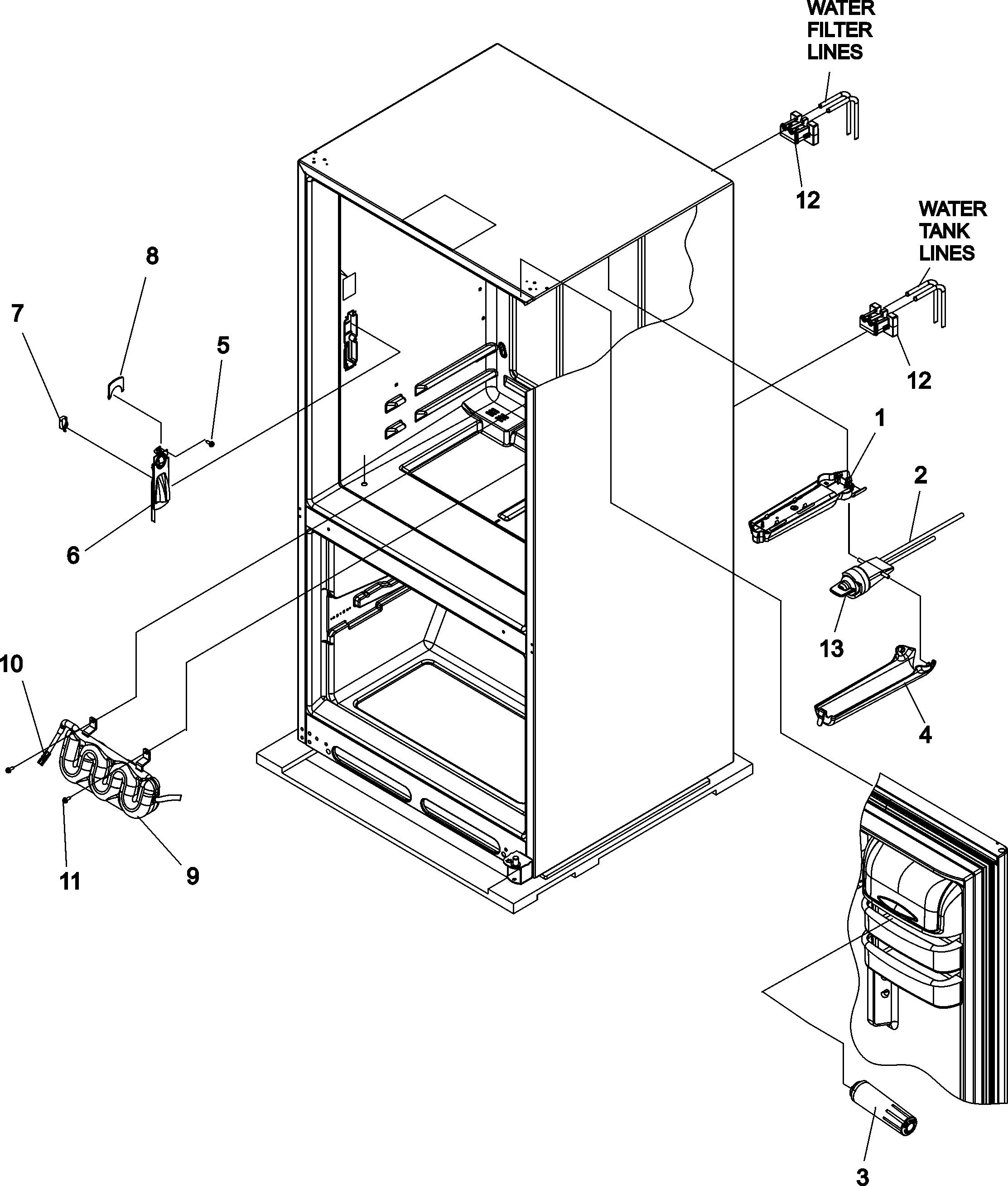 WATER DISPENSER & FILTER Diagram & Parts List for Model
