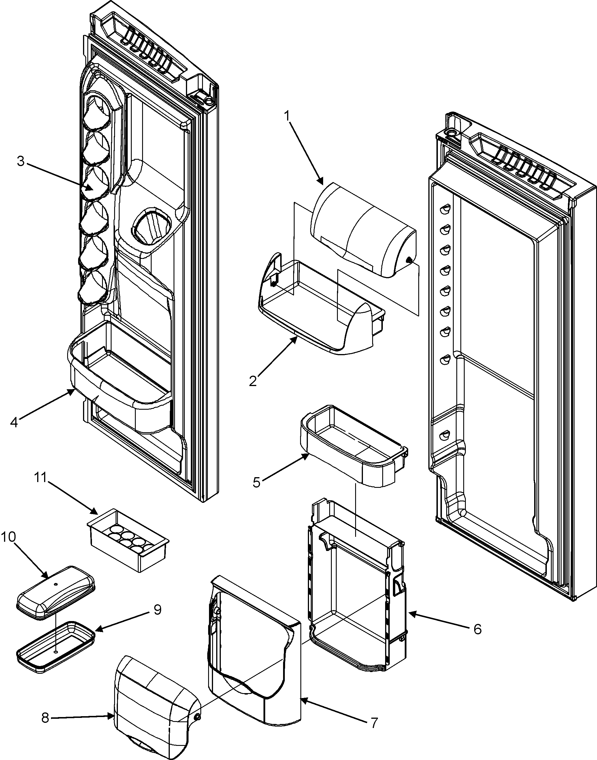 REF DOOR STORAGE Diagram & Parts List for Model mfi2568aes