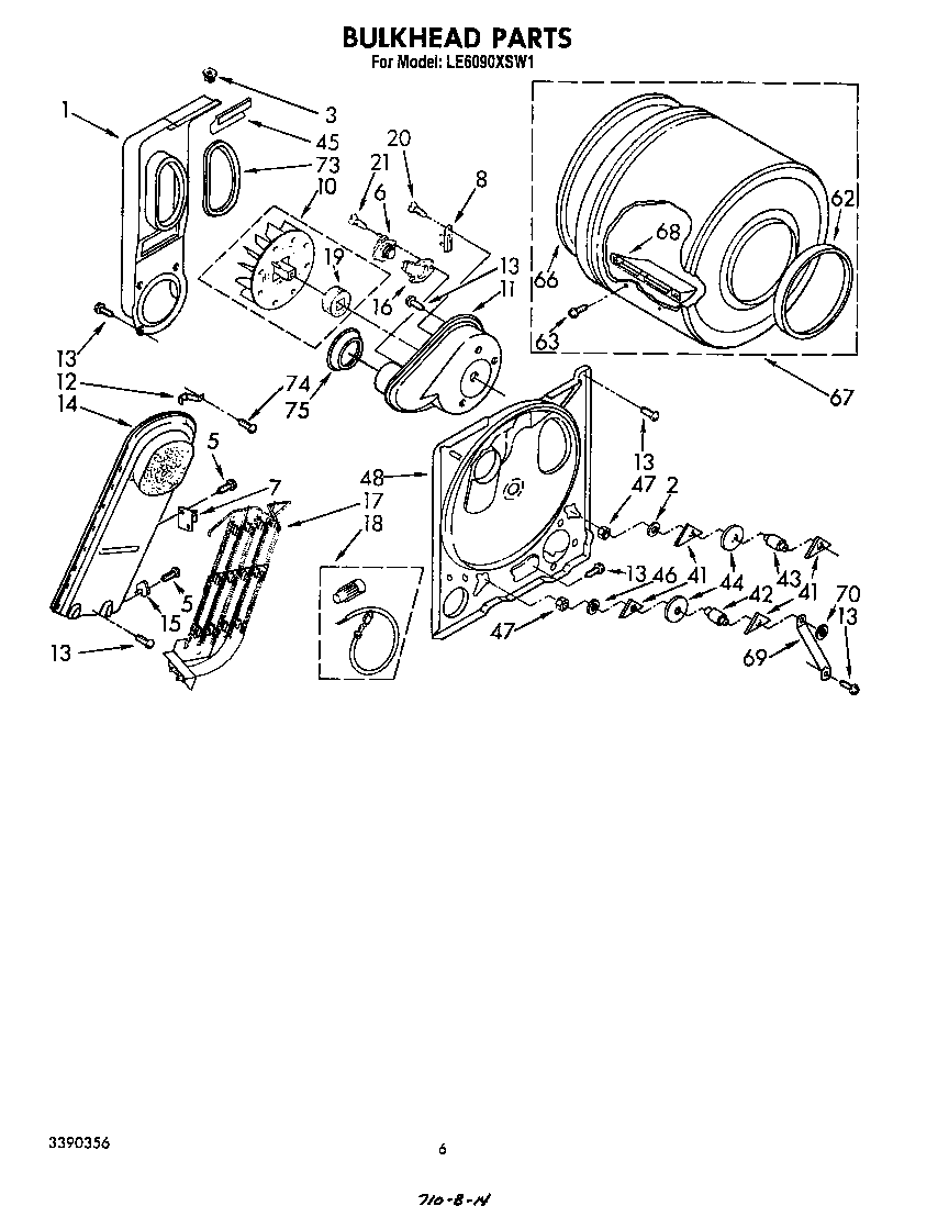 Diagram & Parts List for Model le6090xsw1 Whirlpool-Parts