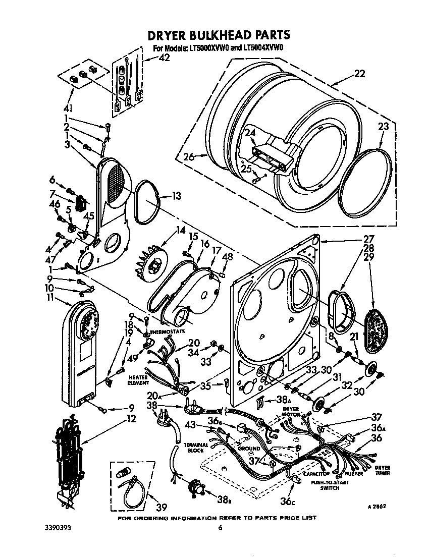 DRYER BULKHEAD Diagram & Parts List for Model lt5000xvw0