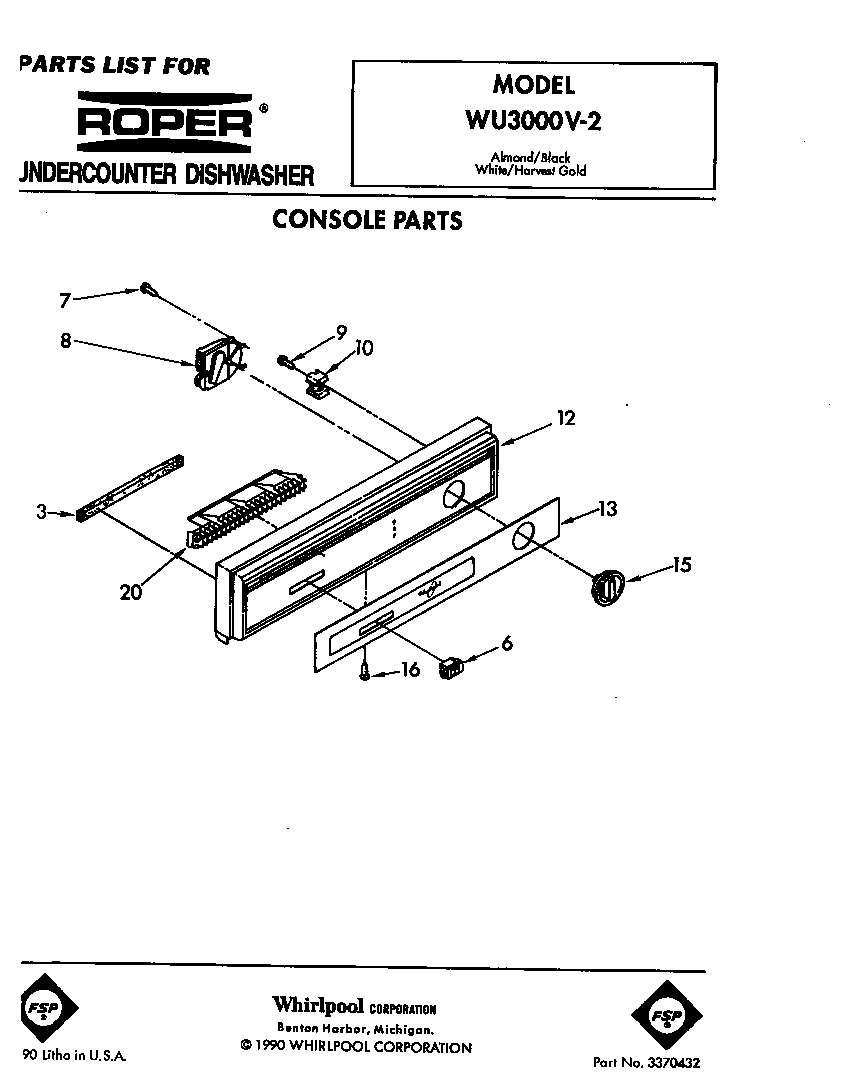 hight resolution of roper wu3000v2 console diagram