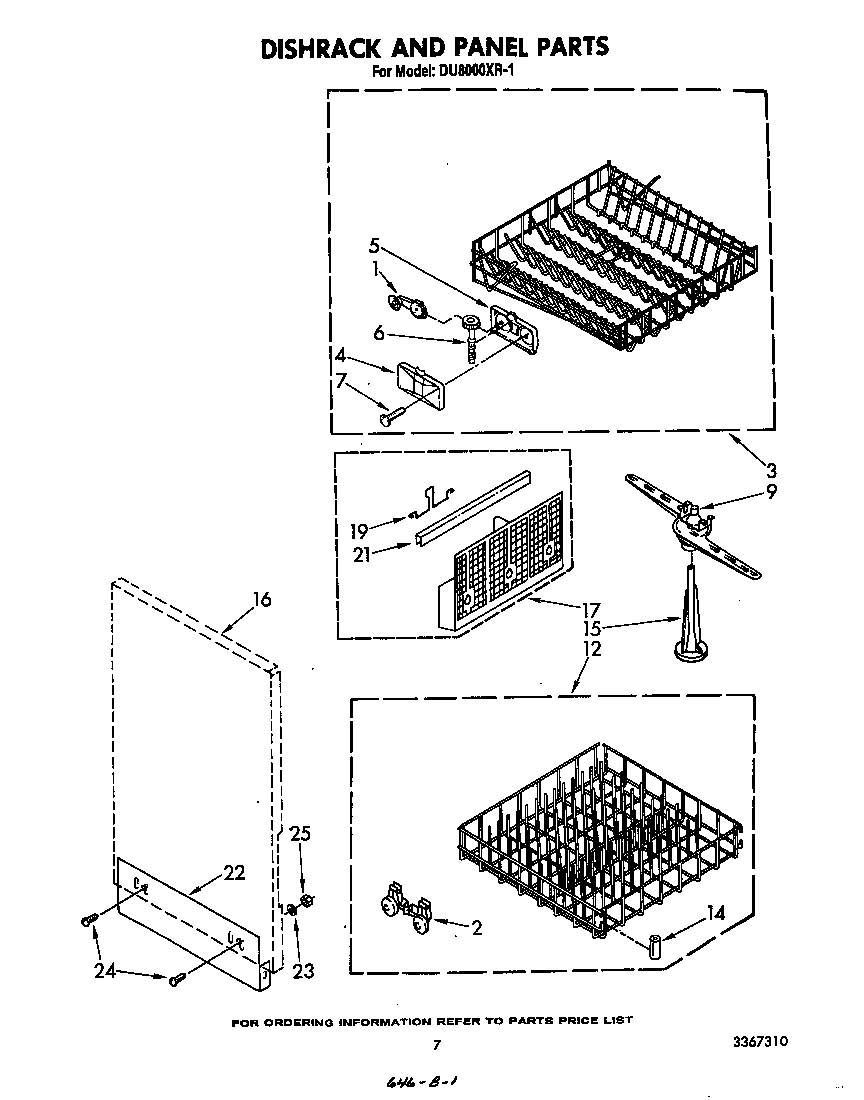 DISHRACK AND PANEL Diagram & Parts List for Model