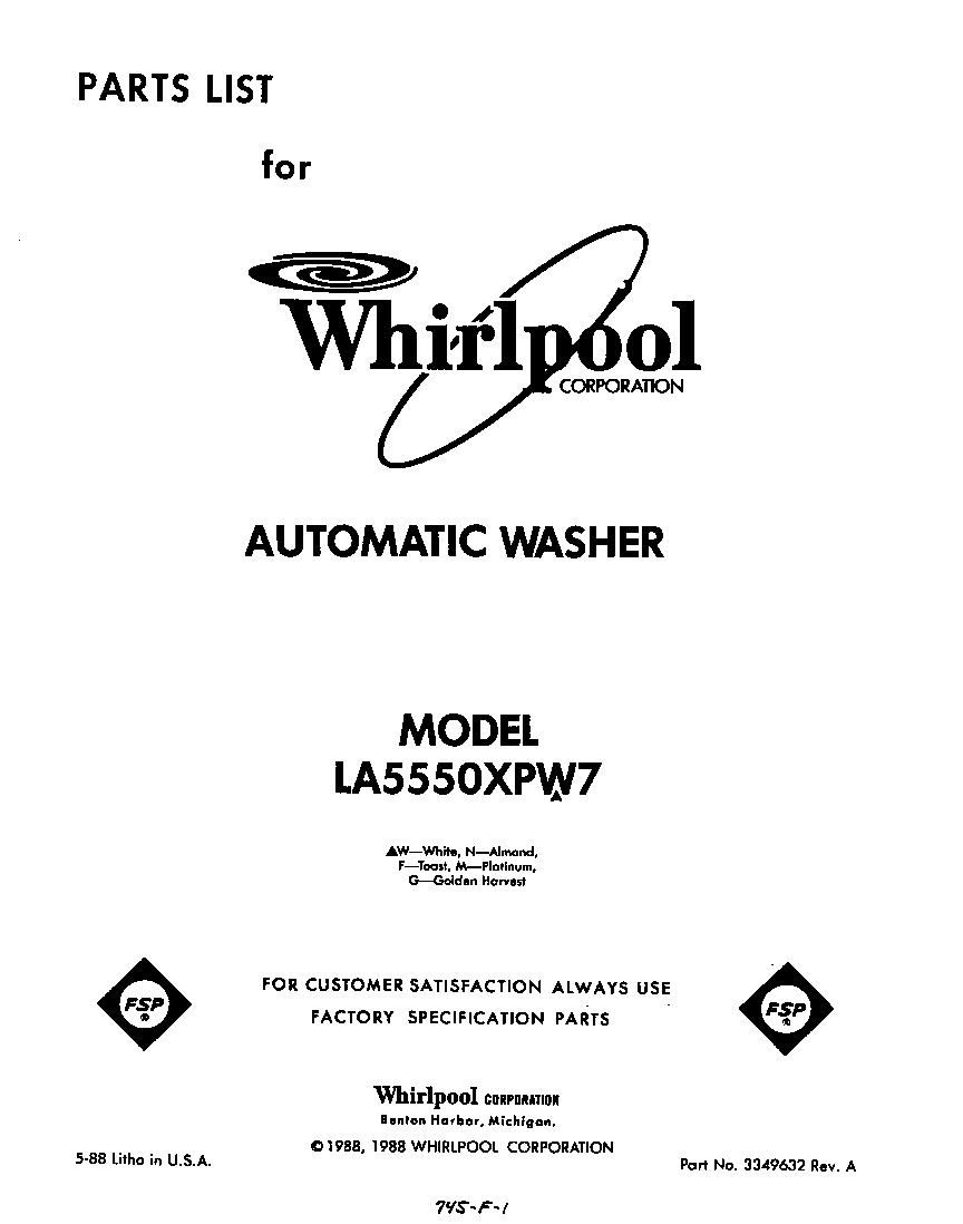 Whirlpool Gas Dryer Parts Model Lgn2000jt1 Sears