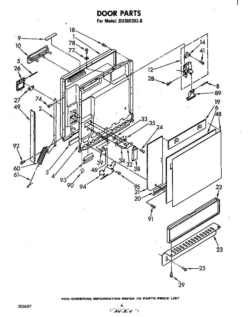 Diagram Parts List For Model Du920pfgt4 Whirlpoolparts Dishwasher