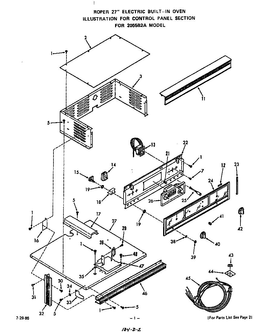 CONTROL PANEL Diagram & Parts List for Model 2055b2a Roper