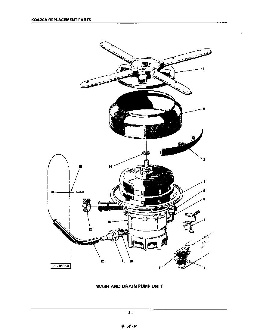 WASH AND DRAIN PUMP Diagram & Parts List for Model KDS20A