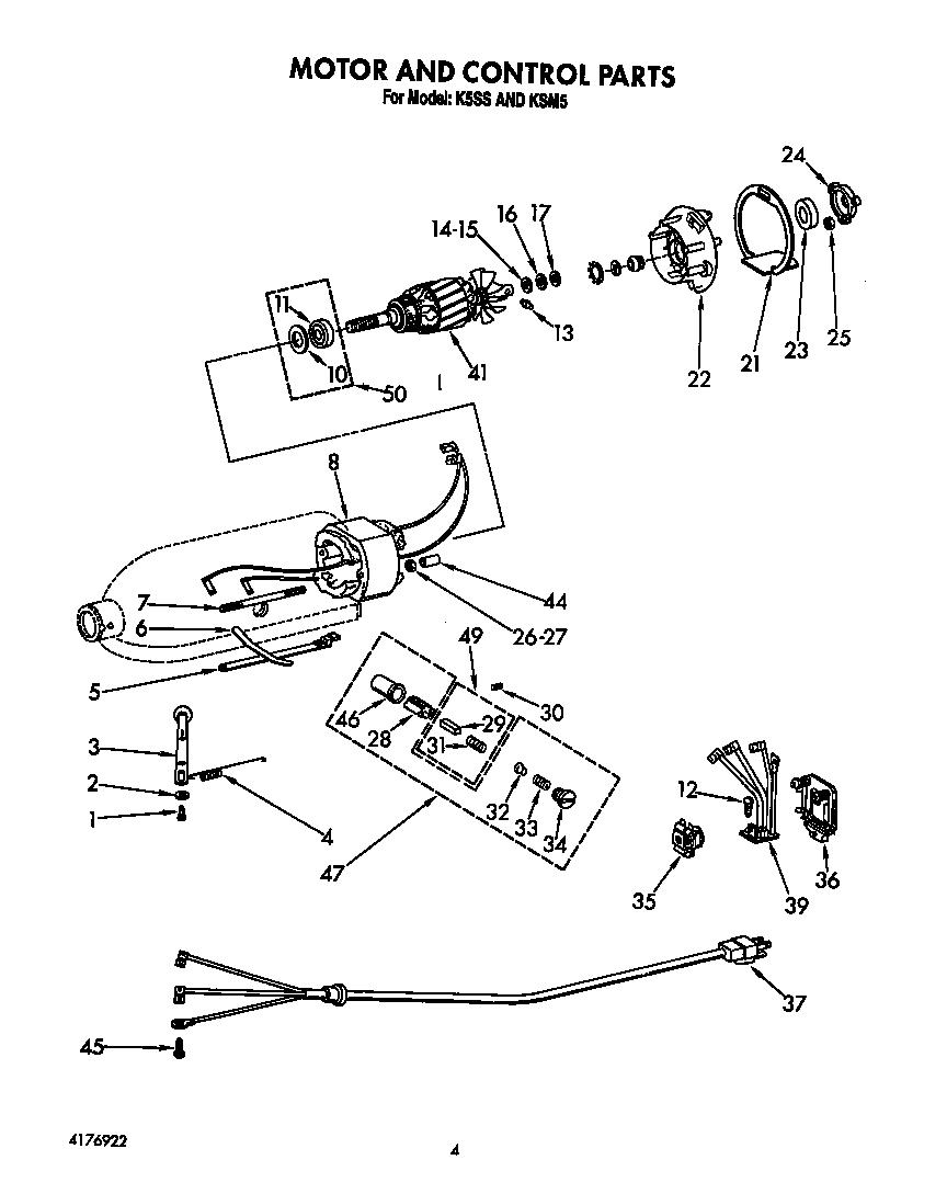 MOTOR AND CONTROL Diagram & Parts List for Model KSM5BBU