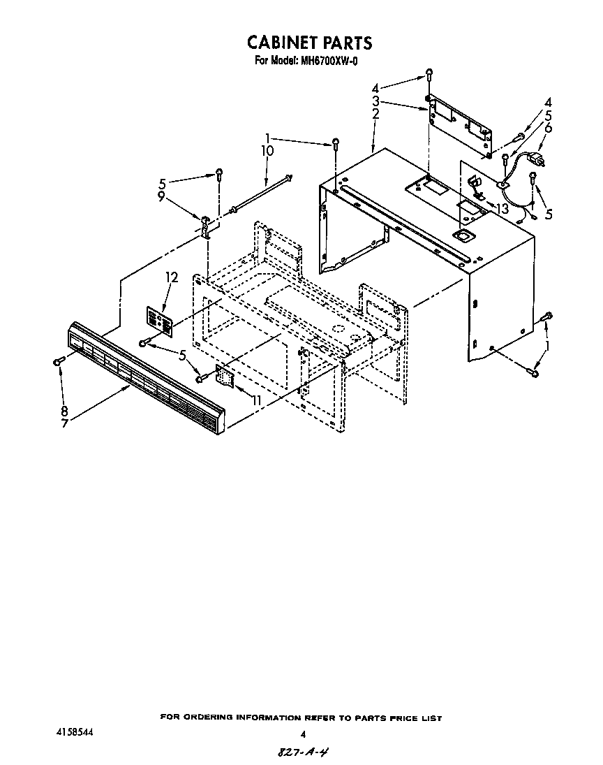 CABINET Diagram & Parts List for Model MH6700XW0 Whirlpool
