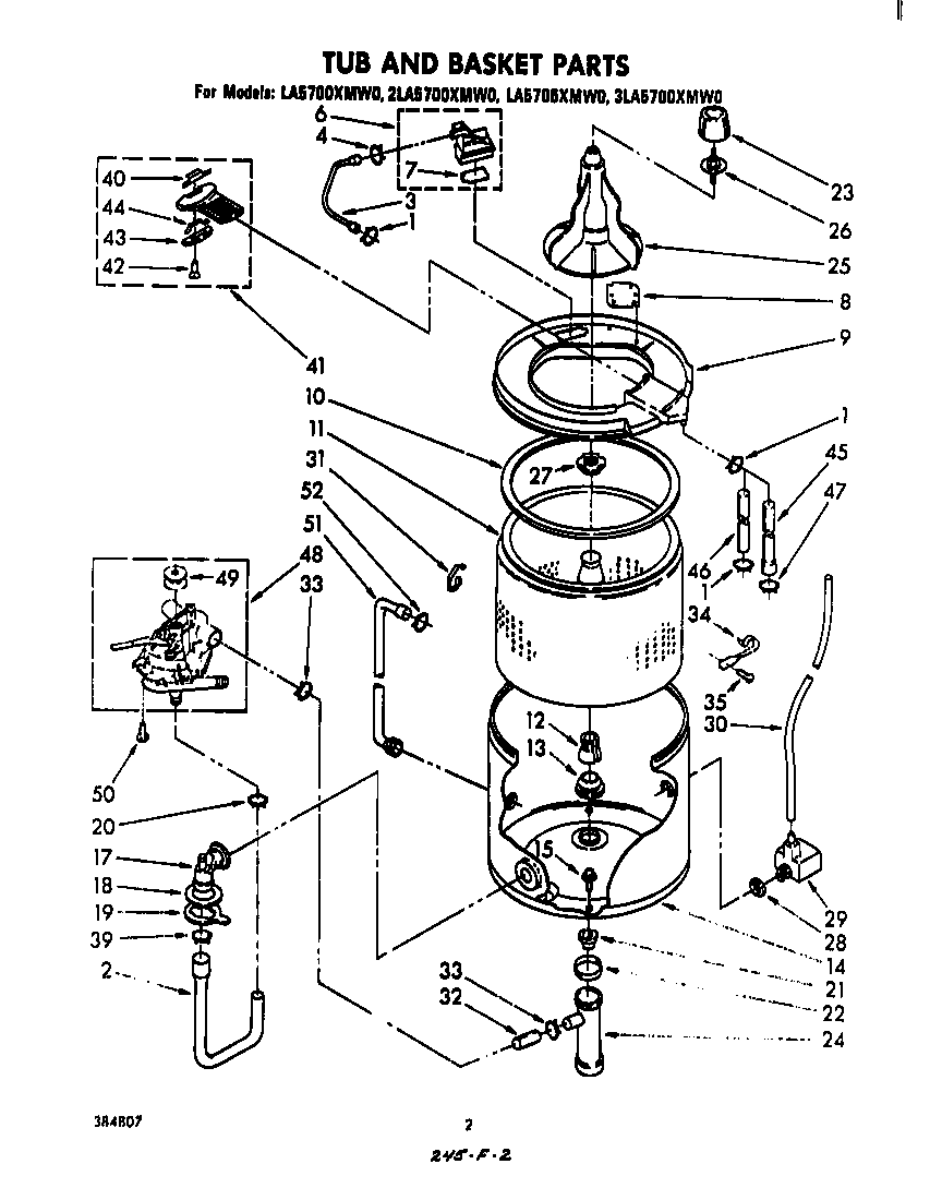 TUB AND BASKET Diagram & Parts List for Model la5700xmw0