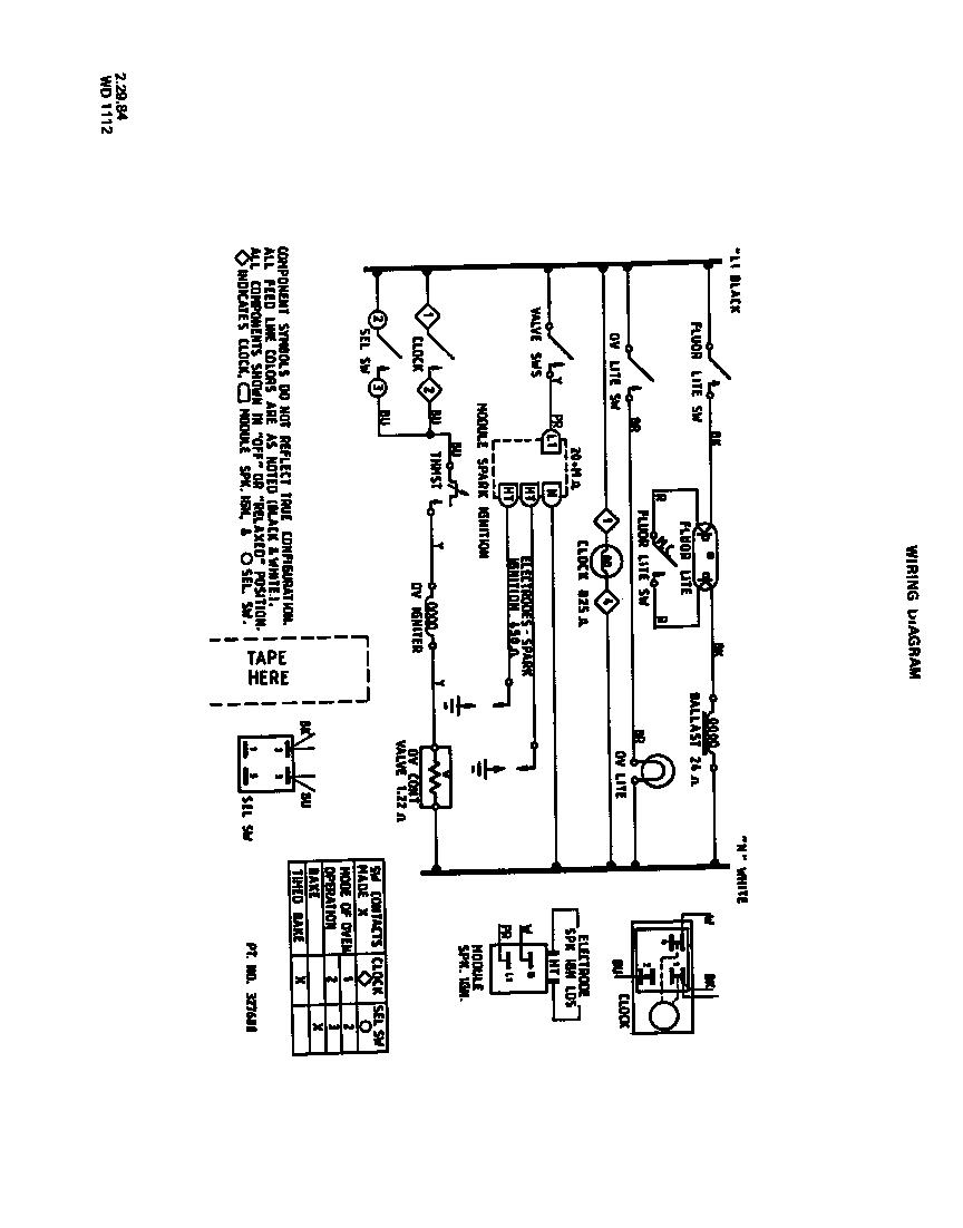 MAIN TOP Diagram & Parts List for Model 1335W3A Roper