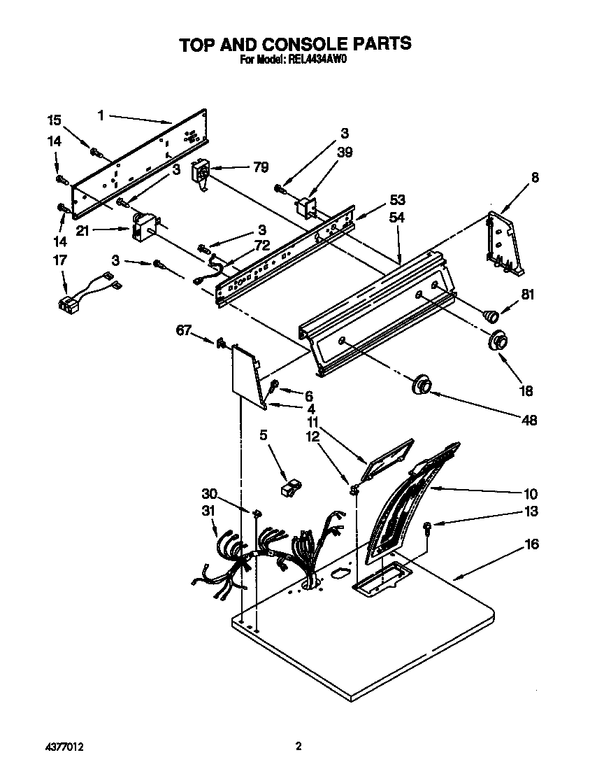 hight resolution of roper rel4434aw0 top and console diagram