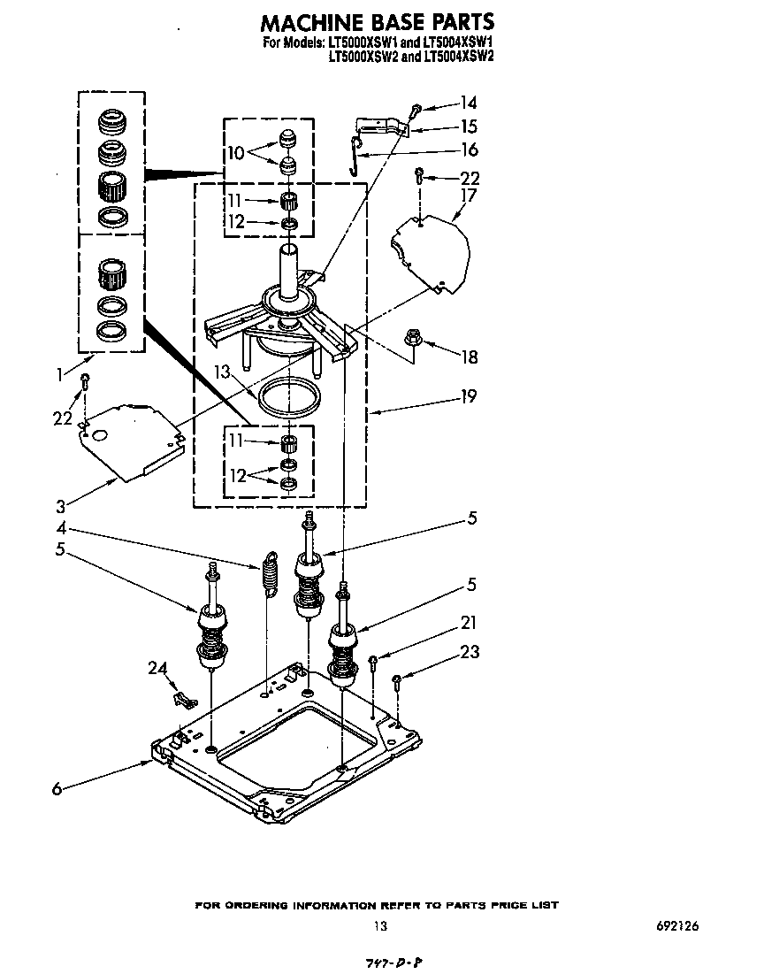 MACHINE BASE Diagram & Parts List for Model lt5000xsw1