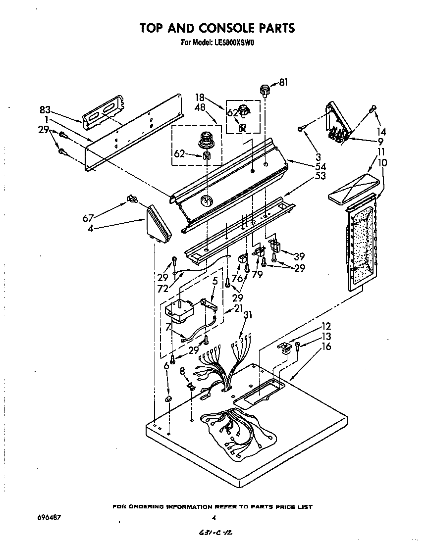Diagram & Parts List for Model LE5800XSW0 Whirlpool-Parts