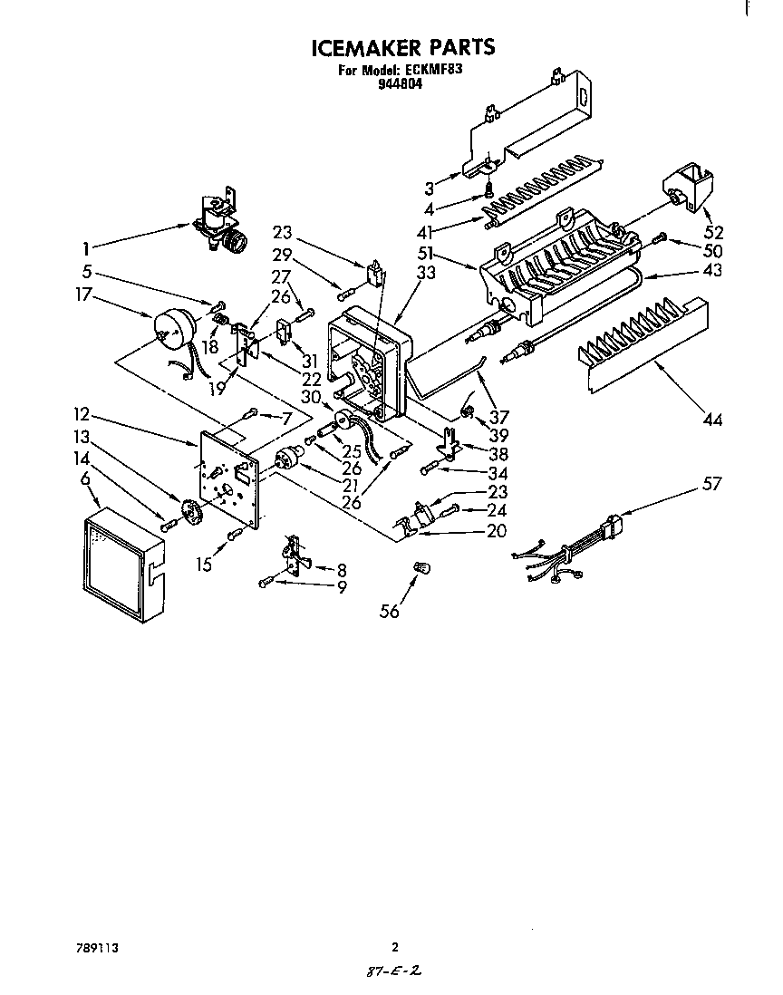 ICEMAKER ASSEMBLY Diagram & Parts List for Model eckmf83