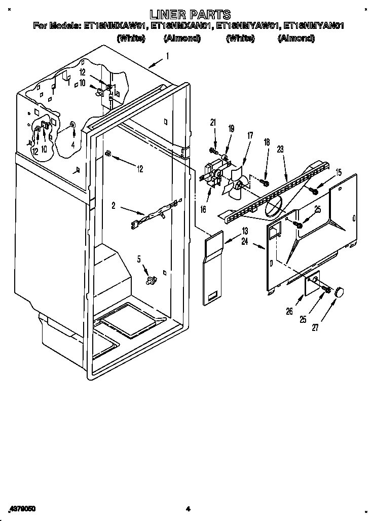 LINER Diagram & Parts List for Model et18nmxaw01 Whirlpool