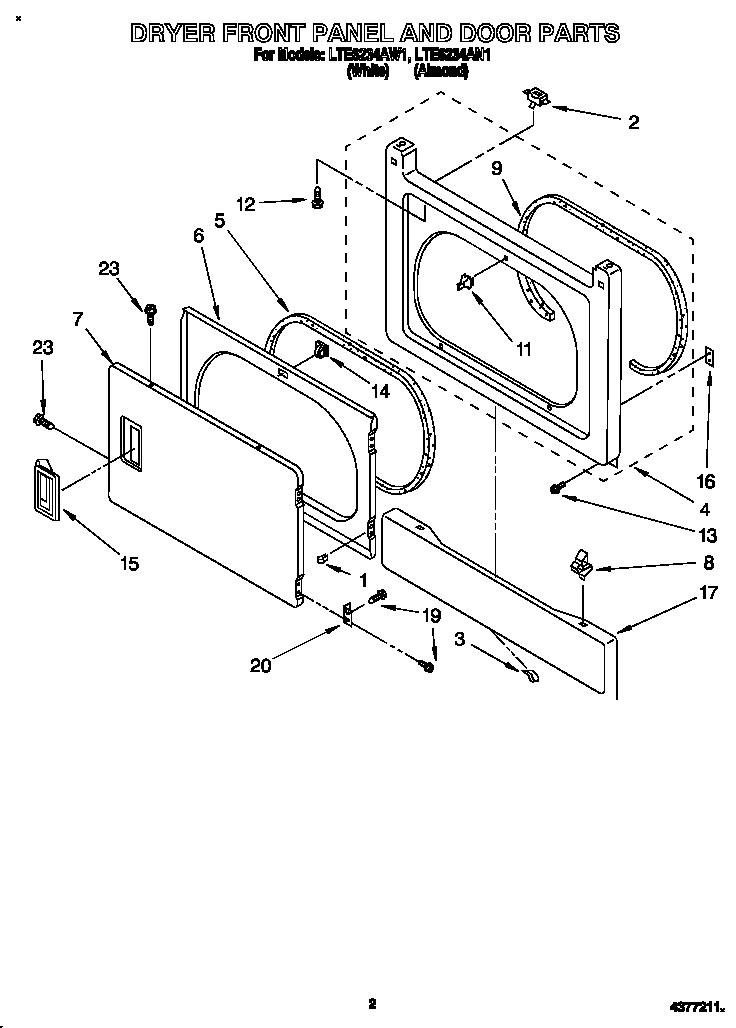 DRYER FRONT PANEL AND DOOR Diagram & Parts List for Model