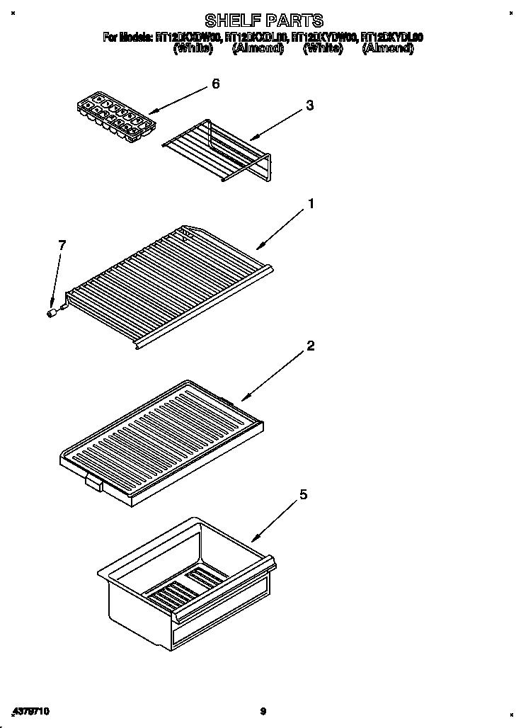 SHELF Diagram & Parts List for Model rt12dkxdw00 Roper