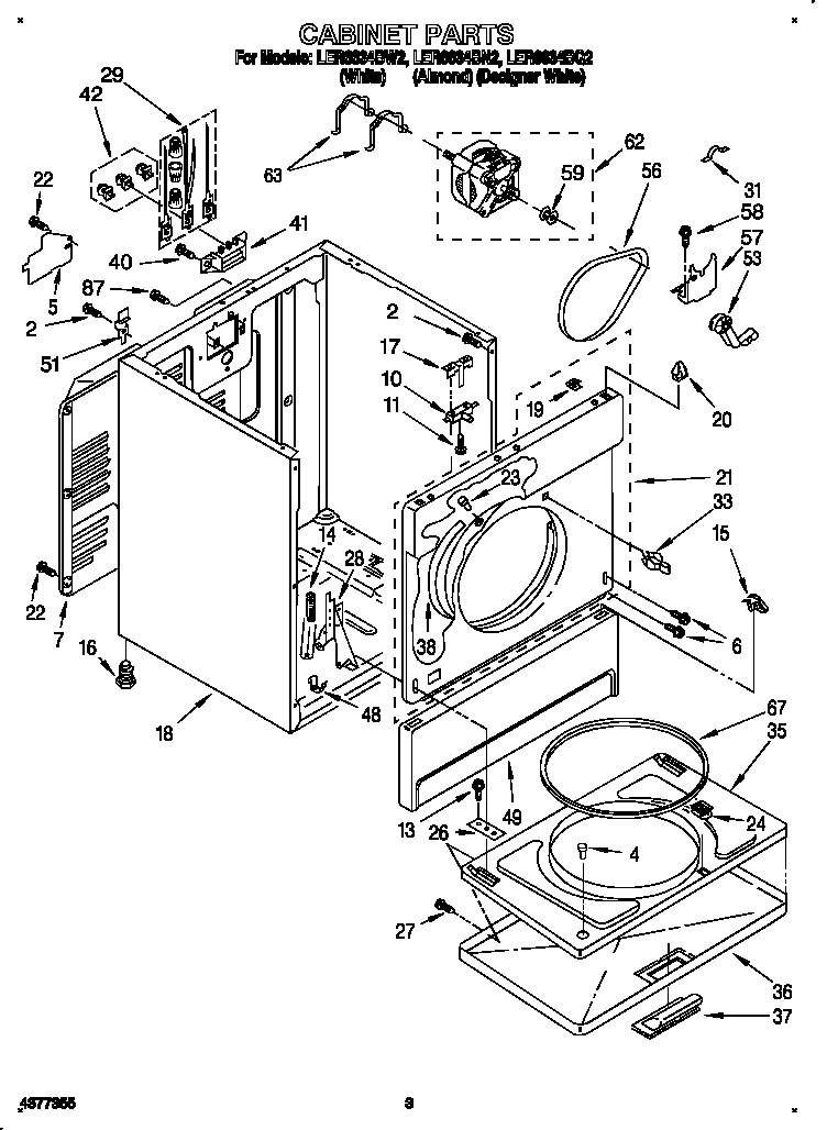CABINET Diagram & Parts List for Model ler6634bq2
