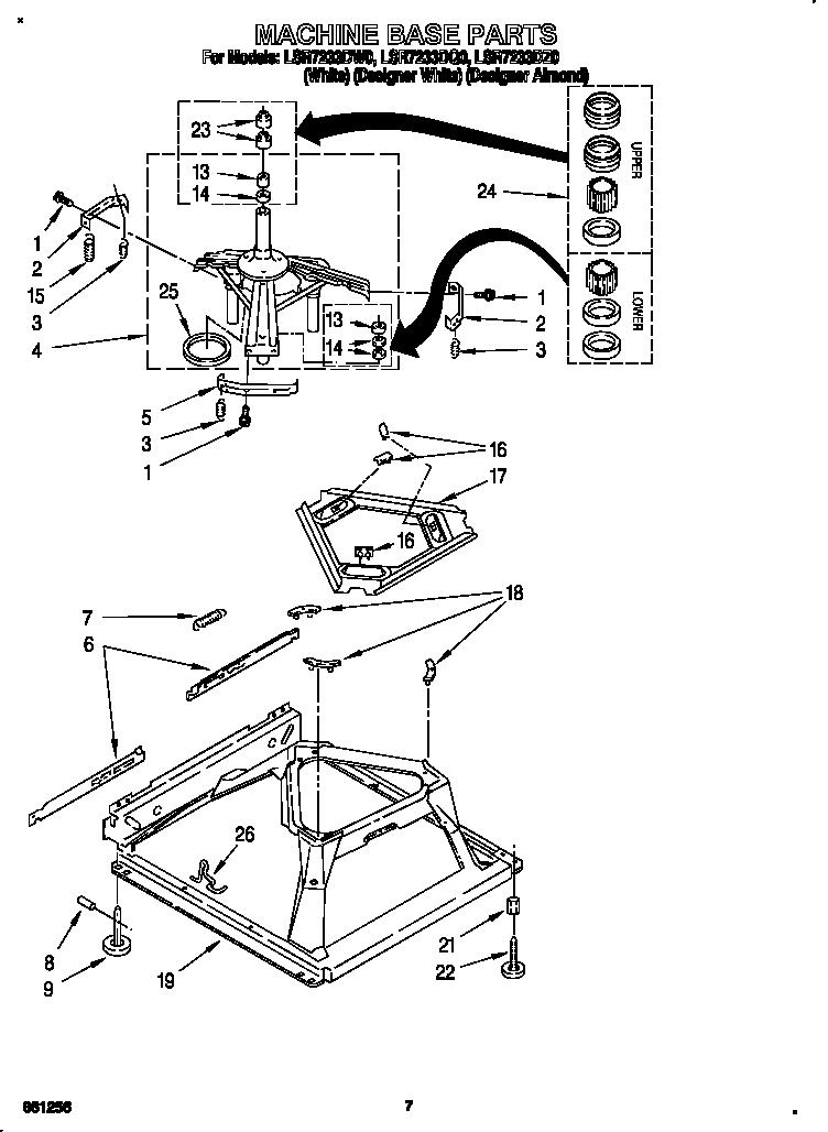 MACHINE BASE Diagram & Parts List for Model lsr7233dz0