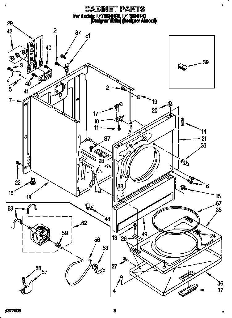 CABINET Diagram & Parts List for Model let6634dz0
