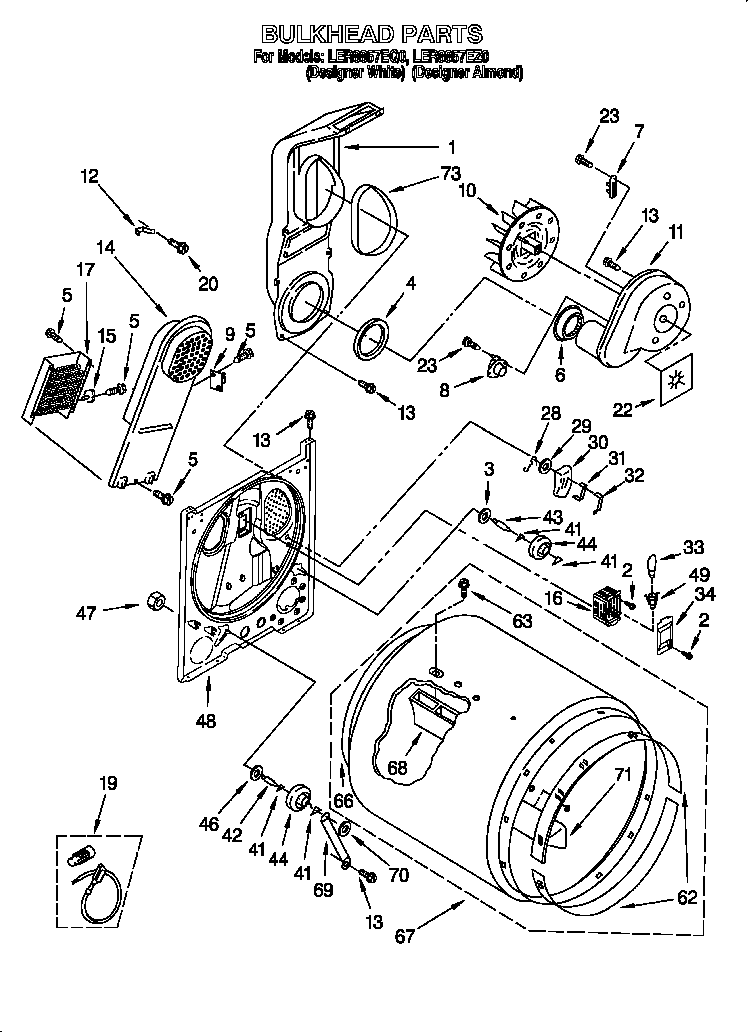 Diagram & Parts List for Model ler8857eq0 Whirlpool-Parts