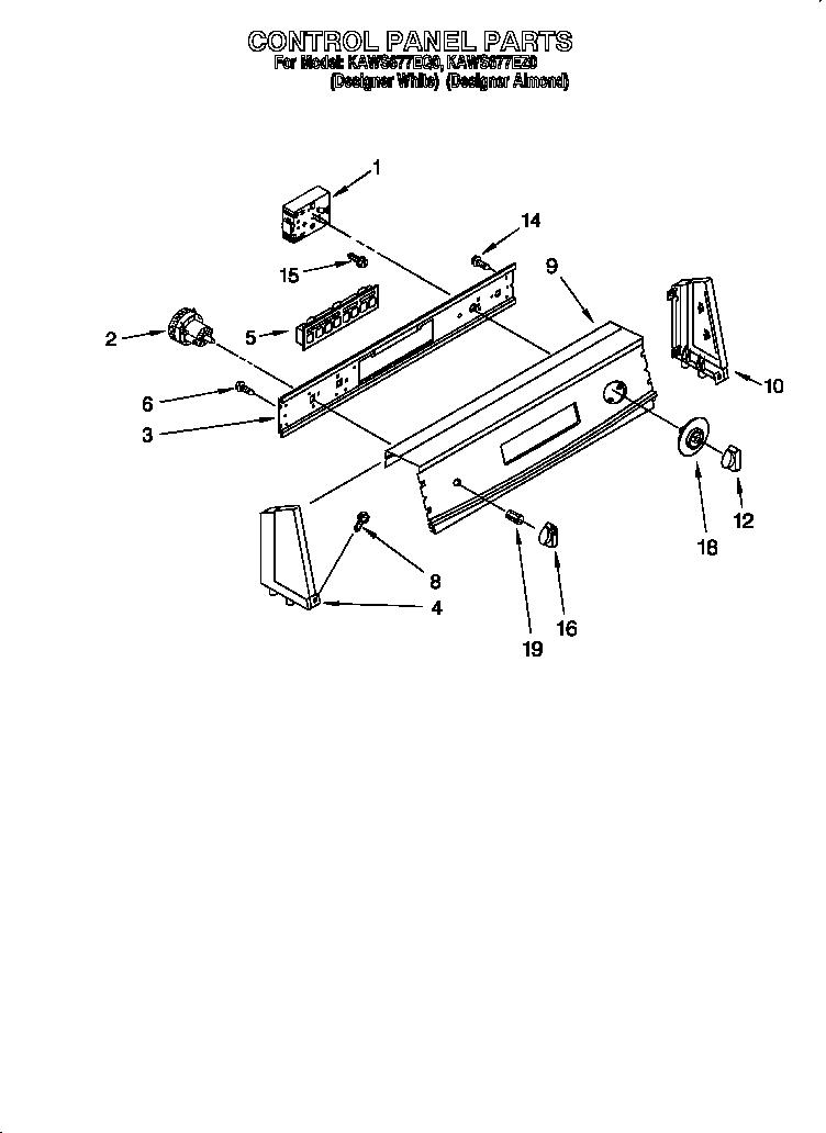 CONTROL PANEL Diagram & Parts List for Model kaws677eq0