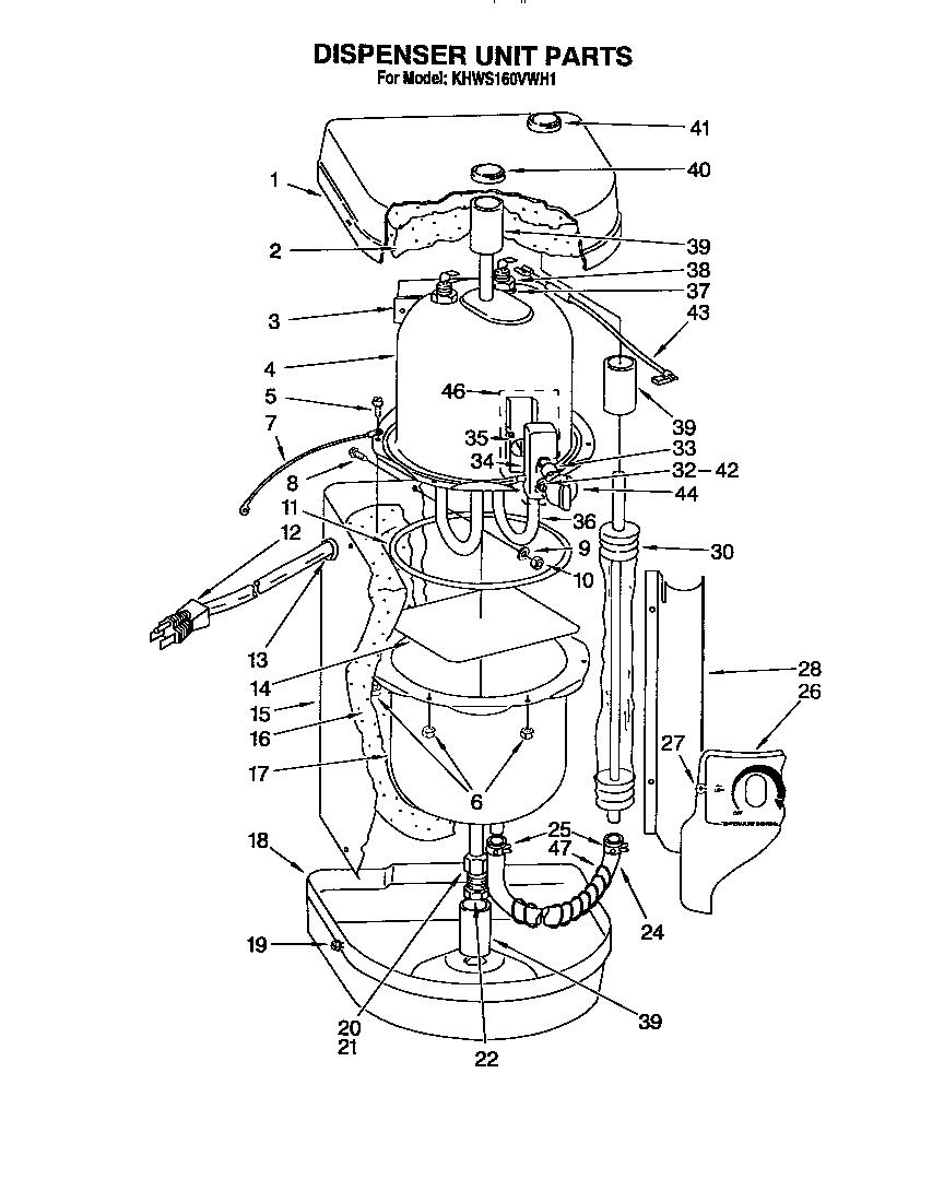 DISPENSER UNIT Diagram & Parts List for Model KHWS160VWH1