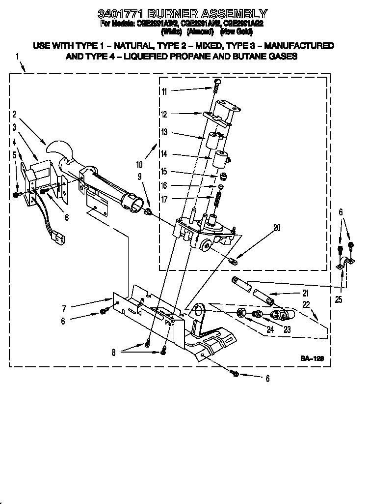 3401771 BURNER ASSEMBLY Diagram & Parts List for Model