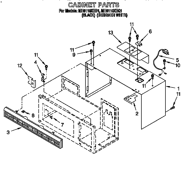 CABINET Diagram & Parts List for Model mh6110xeb1