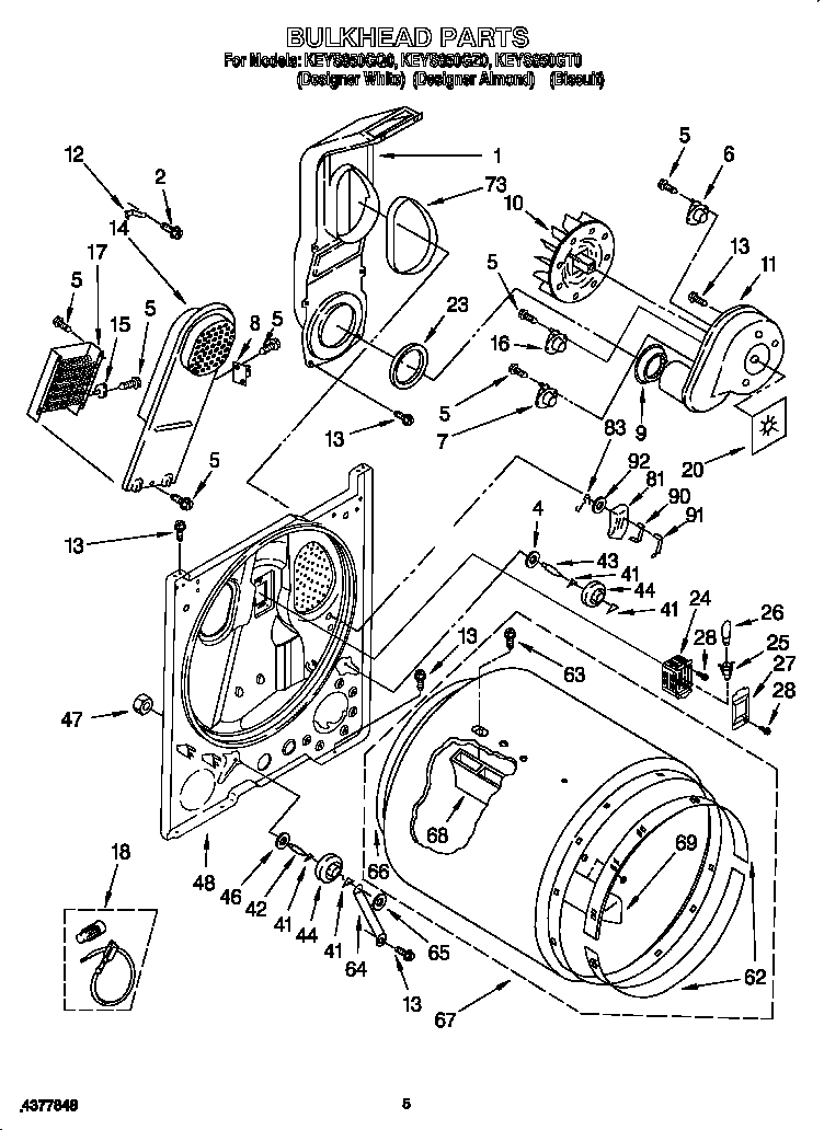 BULKHEAD Diagram & Parts List for Model keys850gt0