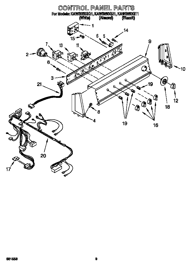 CONTROL PANEL Diagram & Parts List for Model kaws850gz1