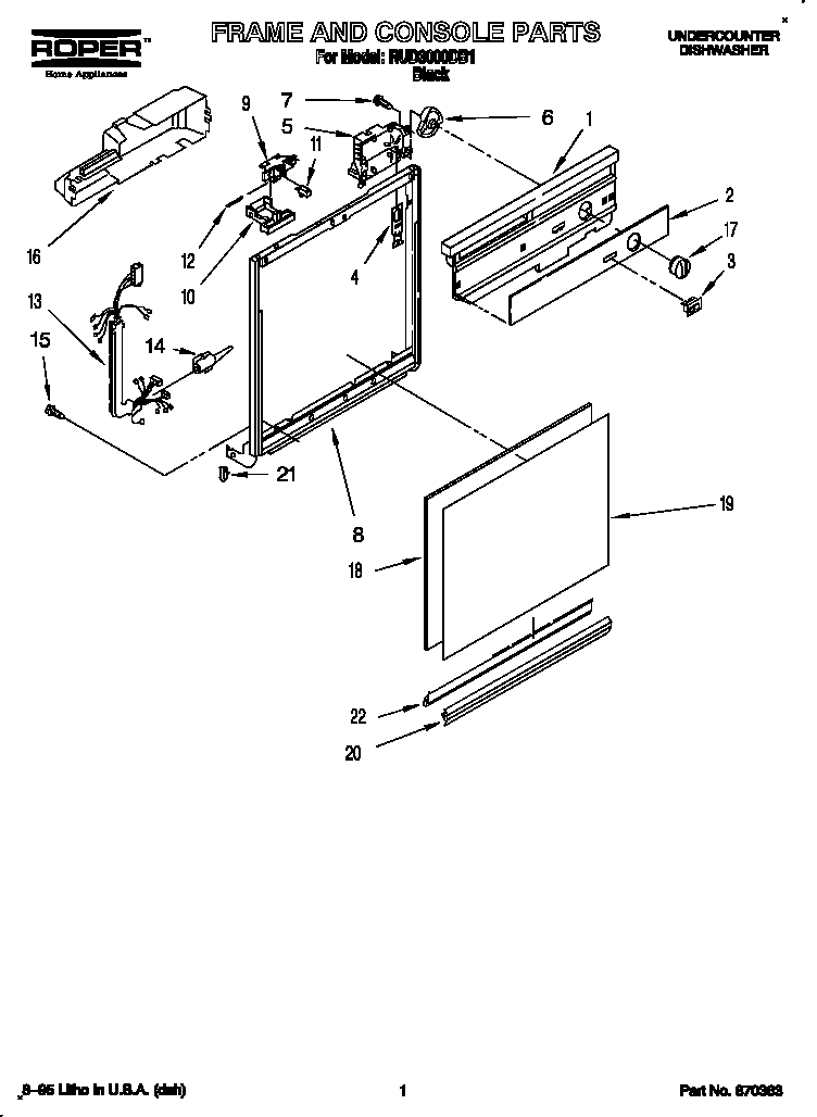 FRAME AND CONSOLE Diagram & Parts List for Model