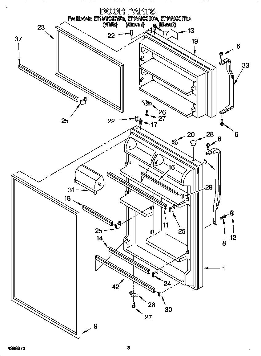 DOOR Diagram & Parts List for Model et18gkxhw00 Whirlpool