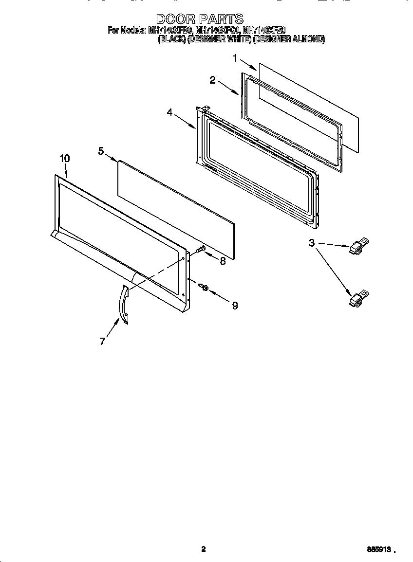 DOOR Diagram & Parts List for Model mh7140xfq0 Whirlpool