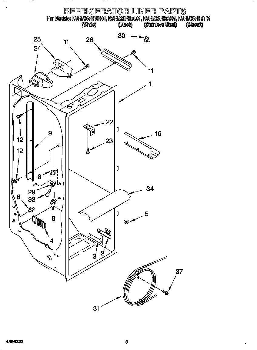 REFRIGERATOR LINER Diagram & Parts List for Model